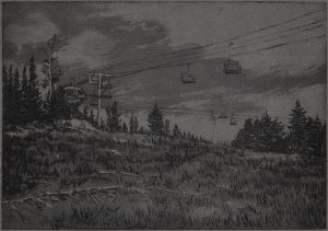 "Off Season Chairlift, 2016. Intaglio and monotype on Langdell Luster paper. 7"" x 10"""
