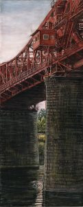 "Broadway Bridge and Willamette River, 2016 ink, dye and graphite on board 10.5"" x 4.25"""