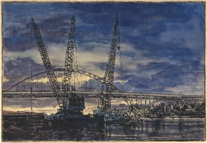 "Fremont Bridge and Cranes 2, 2016 watercolor and intaglio on Langdell Luster paper 5.5"" x 8"""