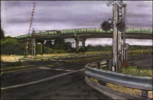 "Canby, 2000. Ink, dye, graphite on board. 4.25"" x 6.5"""