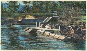 """Cascade Locks, 2015 Ink on Langdell Luster paper 10""""x 15.5"""" (Image is 7"""" x 12"""")"""