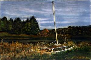 "Centre County Lake, 2003 Ink, dye, graphite on board. 4.25"" x 6.5"""