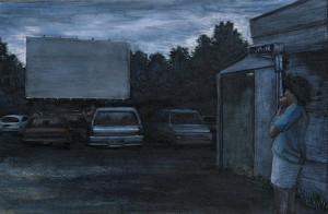 """Dependable Drive-In, 2007 Ink, dye, graphite on board. 4.25"""" x 6.5"""""""