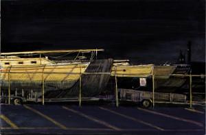 """Erie Boatyard, 2003 Ink, dye, graphite on board. 4.25"""" x 6.5"""""""