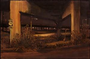 "Fennel Under Grand Avenue, 2000. Ink, dye, graphite on board. 4.25"" x 6.5"""