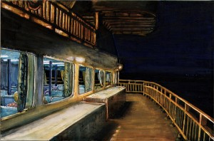 "Manitoulin Ferry, 2003 Ink, dye, graphite on board. 4.25"" x 6.5"""