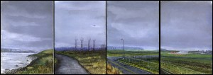 "Four Roads (Marine Drive), 2002 Ink, dye, graphite on board. 4.25"" x 12"""
