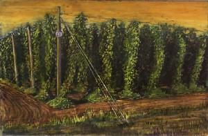 """Hop Field 25, 2002 Ink, dye, graphite on board. 4.25"""" x 6.5"""""""