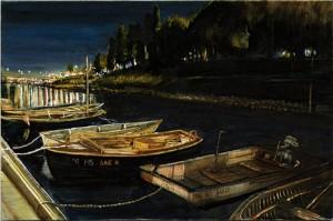 "Dock Under Hawthorne Bridge, 2003 Ink, dye, graphite on board. 4.25"" x 6.5"""