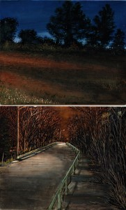 "Two Hillsides, 2003 Ink, dye, graphite on board. 8.5"" x 5.25"""