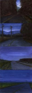 """An Hour on Highway 18, 2002 Ink, dye, graphite on board. 12"""" x 4.25"""""""