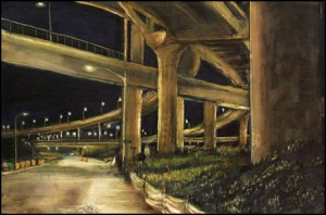 """Construction on North Interstate Avenue, 2002 Ink, dye, graphite on board. 4.25"""" x 6.5"""""""