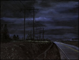 "Outside Junction City, 2000. Ink, dye, graphite on board. 6.5"" x 8.5"""