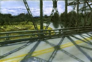 """Bridge Into Lane County, 2000.  Ink, dye, graphite on board. 4.25"""" x 6.5"""""""