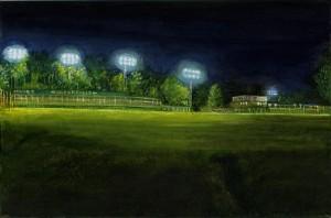 "Magee Field, 2003 Ink, dye, graphite on board. 4.25"" x 6.5"""