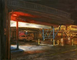 """Interstate Avenue: Mel's Motor Inn, 2002 Ink, dye, graphite on board. 6.5"""" x 8.5"""""""