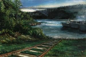 "Marine Railroad by Niagara River, 2007 Ink, dye, graphite on board. 4.25"" x 6.5"""
