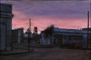 "Southeast Grand Avenue, 2000. Ink, dye, graphite on board. 4.25"" x 6.5"""