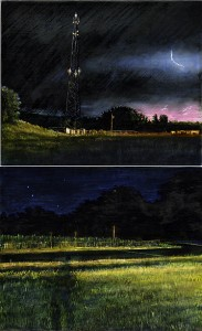 """Ohio and Indiana, 2003 Ink, dye, graphite on board. 8.5"""" x 5.25"""""""