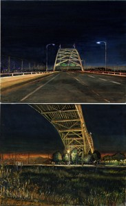 """Over and Under the Fremont Bridge, 2003 Ink, dye, graphite on board. 8.5"""" x 5.25"""""""