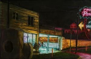 "Interstate Avenue: Palms Motel, 2002 Ink, dye, graphite on board. 4.25"" x 6.5"""
