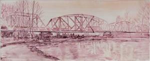 """Pink Hayden Island Railroad Bridge, 2011 12.5"""" x 18.5"""", monotype"""