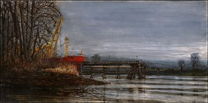 """Red Ship, Kelley Point Park, 2002 Ink, dye, and graphite on board. 5"""" x 9"""""""
