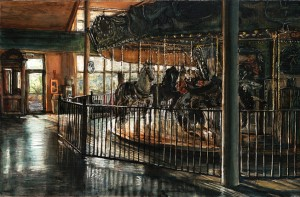 """Salem Carousel, 2010 ink, dye and graphite on board 4.25""""x 6.5"""""""