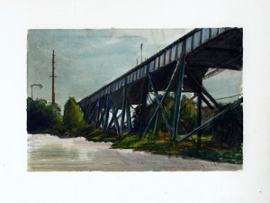 "Cleveland, 2003 Watercolor pencil, ink, graphite on paper. 4.25"" x 6.5"""