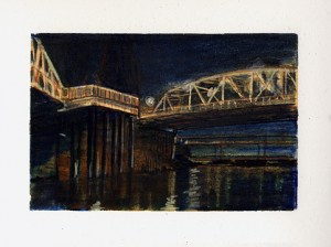 "Hawthorne and Marquam Bridges Watercolor pencil, ink, graphite on paper. 4.25"" x 6.5"""