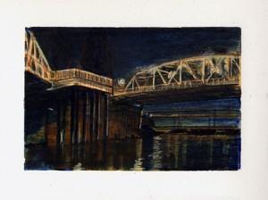 "Hawthorne and Marquam Bridges Watercolor pencil, ink, graphite on paper. 4.25"" x 6.5"""