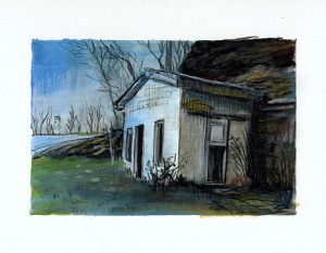 """Highway 30, PA, 2003 Watercolor pencil, ink, graphite on paper. 4.25"""" x 6.5"""""""