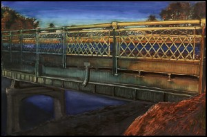 "Bridge Over Columbia Slough, 2000 Ink, dye, graphite on board. 4.25"" x 6.5"""