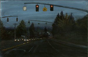 """Oncoming Traffic on Southeast Capitol Highway, 2002 Ink, dye, graphite on board. 4.25"""" x 6.5"""""""