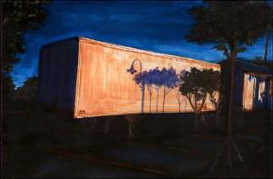 "Grocery Store Parking Lot, 2002 Ink, dye, graphite on board. 4.25"" x 6.5"""