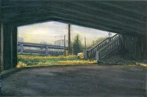 "Stairs Below SE McLoughlin, 2000. Ink, dye, graphite on board. 4.25"" x 6.5"""