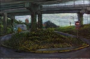 "Marquam Bridge IV (Sheridan Street Exit), 2002 Ink, dye, graphite on board. 4.25"" x 6.5"""