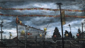"Used Car Lot, 2007 Ink, dye, graphite on board. 4.25"" x 7.5"""