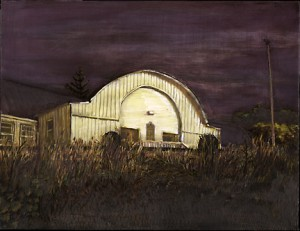 "Oregon City VFW Hall, 2000. Ink, dye, graphite on board. 6.5"" x 8.5"""