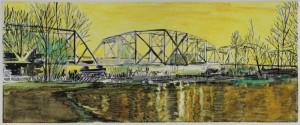 "Yellow Hayden Island Railroad Bridge, 2011 12.5"" x 18.5"", monotype"